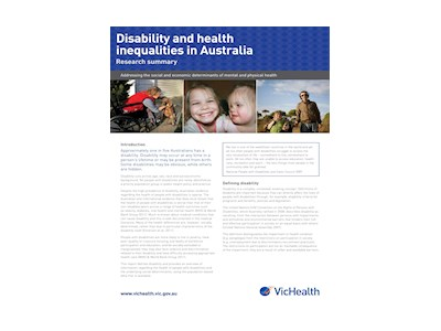 Disability and Health Inequalities in Australia