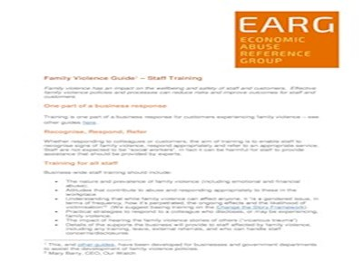 EARG Family Violence Guide – Staff Training