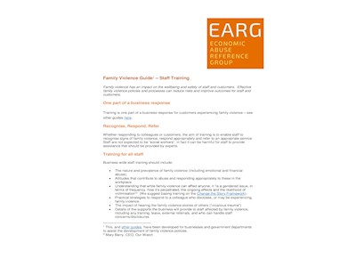 EARG Good Practice Family Violence Guide - Staff Training