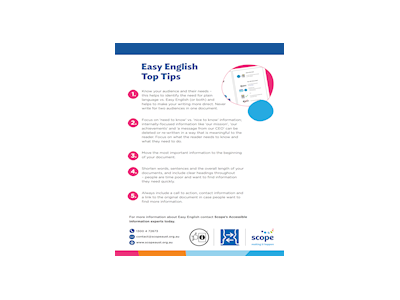Scope Easy English Top Tips Flyer