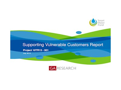 Supporting Vulnerable Customers Report. Smart Water Fund.