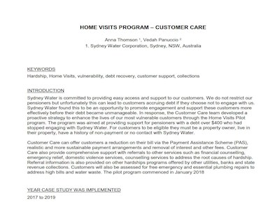 Sydney Water Home Visit Program Case Study Report